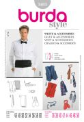 3403 Burda Pattern: Men's Waistcoat, Cravat, Necktie, Bow Tie, Cummberbund and Scarf